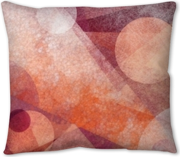 abstract modern geometric background design with various textures and shapes, floating circles squares diamonds and triangles in orange white and burgundy pink colors, artistic composition layout Throw Pillow