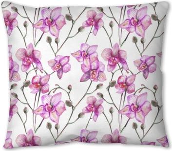 beautiful original red blooming orchids. watercolor art Throw Pillow