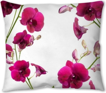 Beautiful purple orchid flower frame isolated on white background Throw Pillow