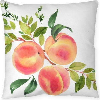 Branch with peaches. Watercolor illustration Throw Pillow