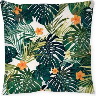 Bright colorful tropical seamless background with leaves and Throw Pillow