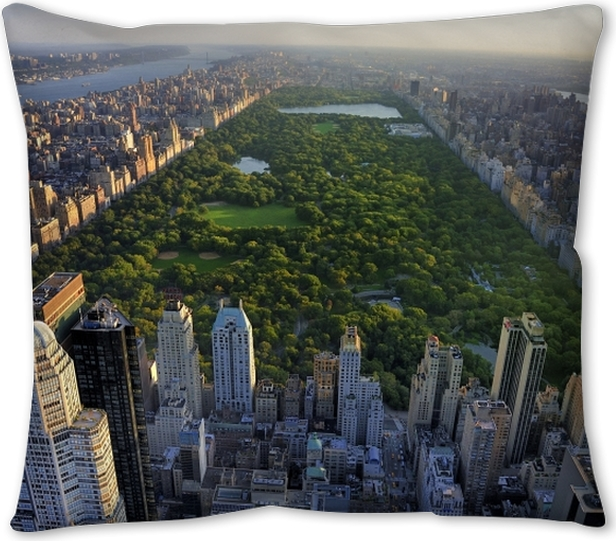 Central Park Aerial View Manhattan New York Park Is Surrounded By Skyscraper Throw Pillow Pixers We Live To Change