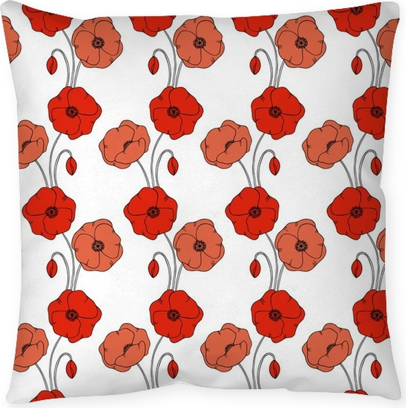 Color Vector Simple Illustration Of Decorative Poppy Flower Pattern Magnificent Poppy Decorative Pillows