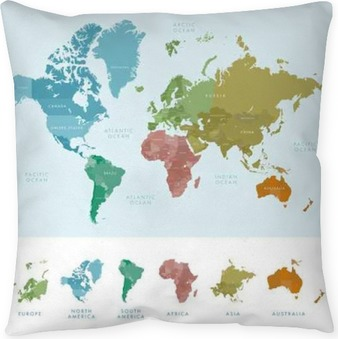Continents And Countries On The World Map Marked Colored Highly Detailed Vector