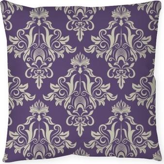 Dark purple and beige vintage wallpaper Throw Pillow