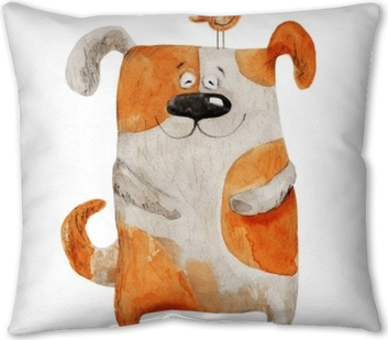 Dog smiling with bird. Watercolor illustration Throw Pillow