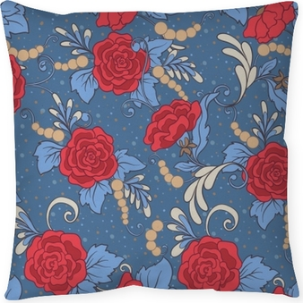 Floral seamless pattern, background with vintage style flowers in red and blue colors. Stock line vector illustration. Throw Pillow