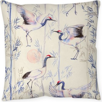 Hand-drawn watercolor seamless pattern with white Japanese dancing cranes. Repeated background with delicate birds and bamboo Throw Pillow
