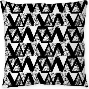 Hand painted bold pattern with triangles Throw Pillow