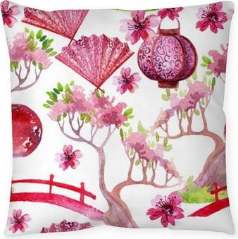 Japanese seamless pattern Throw Pillow