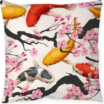 Koi fish and sakura seamless Throw Pillow