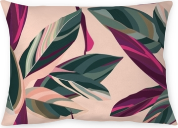 Leaves of Cordelia on a pink background. Floral seamless pattern. Throw Pillow