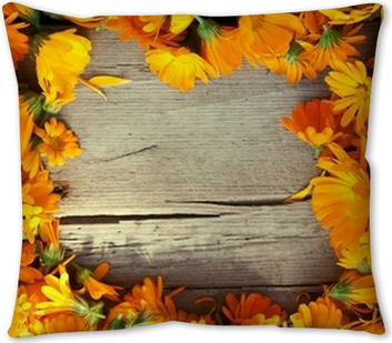 Marigold Flowers Over Wooden Background Autumn Throw Pillow Pixers We Live To Change