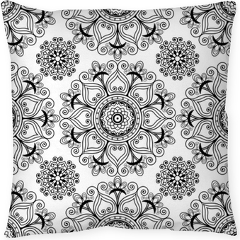 Mehndi henna seamless vector background with buta decoration items in Indian style. Throw Pillow