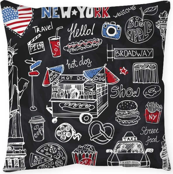 New York Doodle fast food seamless pattern American symbols in hand drawn  sketch Vector icons,sign,lettering Vintage Illustration,background Statue  Of