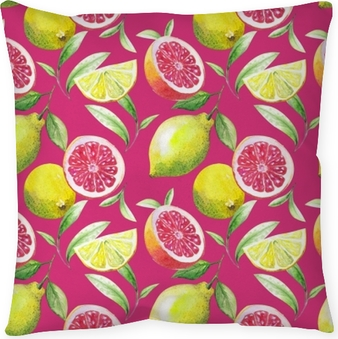 Nice handmade pattern of tea leafs and citrus fruits: lemon, grapefruit, orange, lime. watercolor. Throw Pillow