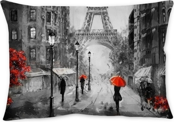 oil painting on canvas, street view of Paris. Artwork. eiffel tower . people under a red umbrella. Tree. France Throw Pillow