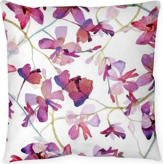 Orchids purple seamless pattern. Watercolor painting. Throw Pillow