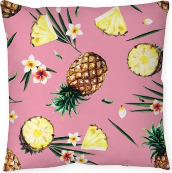 Pineapples. Watercolor seamless pattern. Throw Pillow