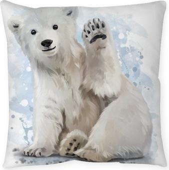 Polar bear watercolor painting Throw Pillow