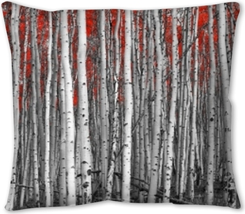 Red leaves in a black and white forest landscape Throw Pillow