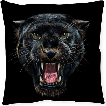 Roaring black panther on black background Throw Pillow