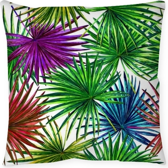 Seamless floral pattern with beautiful watercolor fan palm leaves. Colorful jungle foliage on white background. Textile design. Throw Pillow