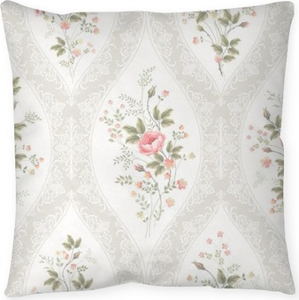 seamless floral pattern with lace and floral bouquet Throw Pillow
