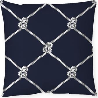 Seamless nautical rope knot pattern Throw Pillow