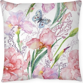 seamless pattern .irises peonies flowers butterfly.exotic print fabric,Wallpaper.watercolor illustration. Throw Pillow