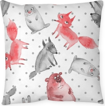 Seamless pattern with cartoon forest animals 2. Wolf, bear, fox and hare Throw Pillow