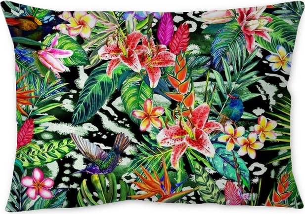 Seamless Tropical Floral Pattern Hand Painted Watercolor Exotic Extraordinary Hand Painted Decorative Pillows