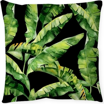 Seamless watercolor illustration of tropical leaves, dense jungle. Pattern with tropic summertime motif may be used as background texture, wrapping paper, textile,wallpaper design. Banana palm leaves Throw Pillow