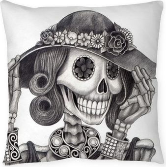 Skull art day of the dead.Art design women skull fashion and jewelry model action smiley face day of the dead festival hand pencil drawing on paper. Throw Pillow
