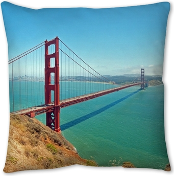 The Golden Gate Bridge In San Francisco With Beautiful Azure Oce Throw Pillow Pixers We Live To Change