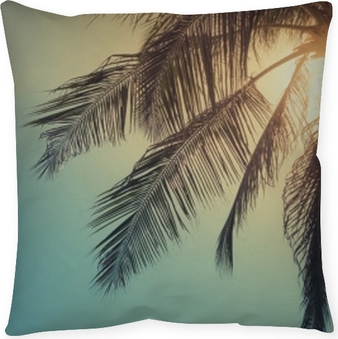 Top of palm tree with sun behind Throw Pillow