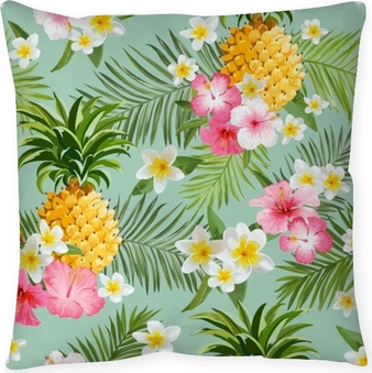 Tropical Flowers and Pineapples Background - Vintage Seamless Pattern Throw Pillow