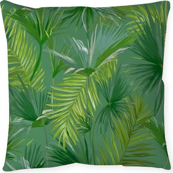 Tropical Palm Leaves, Jungle Leaves Seamless Vector Floral Pattern Background Throw Pillow
