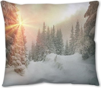 Peaceful Winter Scene With Trees And Snow Throw Pillow Pixers We Live To Change