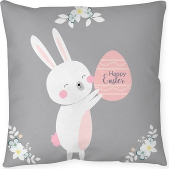 vector cartoon style easter bunny greeting card Throw Pillow