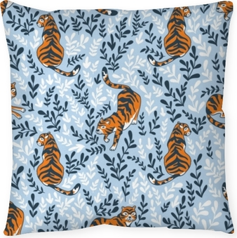 Vector seamless pattern with tigers isolated on the floral background. Animal background for fabric or wallpaper boho design. Throw Pillow