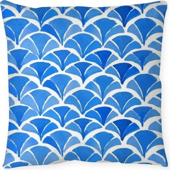 Watercolor blue japanese pattern. Throw Pillow