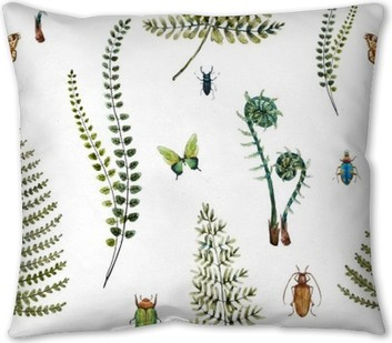 Watercolor fern pattern Throw Pillow