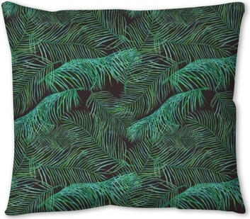 Watercolor palm leaves saemless pattern on dark background. Throw Pillow