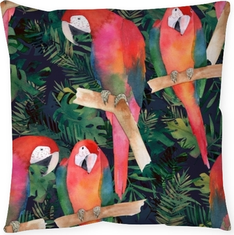 Watercolor seamless pattern with colorful parrots and tropical leaves. Exotic print Throw Pillow