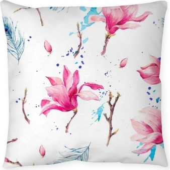 Watercolor Seamless Pattern with Flowers Magnolia Throw Pillow