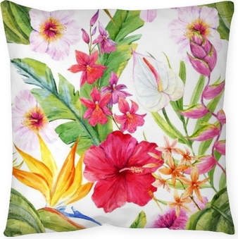 Watercolor tropical floral pattern Throw Pillow