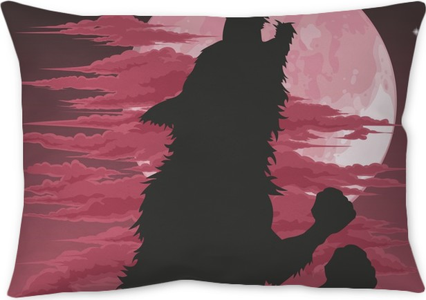 Werewolf silhouette howling at moon Throw Pillow • Pixers® • We live ...