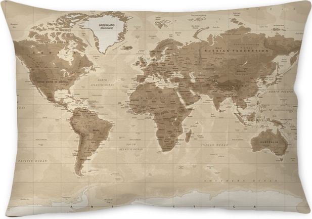 World map physical vintage vector throw pillow pixers we live world map physical vintage vector throw pillow gumiabroncs Gallery