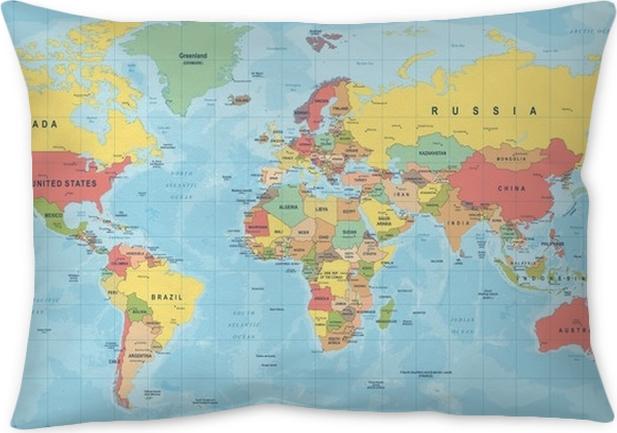 World map vector detailed illustration of worldmap throw pillow world map vector detailed illustration of worldmap throw pillow gumiabroncs Images